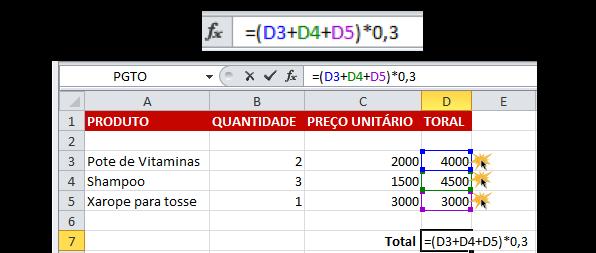Exemplo de como fazer uma fórmula
