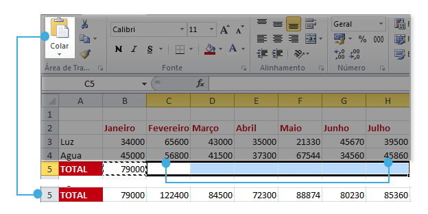 Exemplo de imagem de como o Excel 2010 funciona ao copiar uma fórmula.