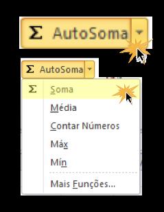 Exemplo de imagem do comando Autosoma e a função Soma no Excel 2010.