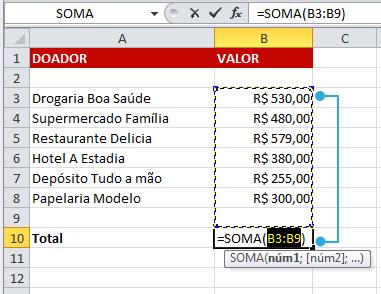 Exemplo de imagem da seleção de argumentos de função no Excel 2010