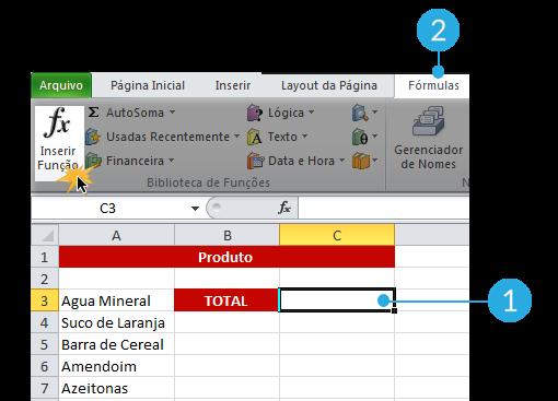 Exemplo de imagem da guia Fórmulas e o comando Inserir Função no Excel 2010