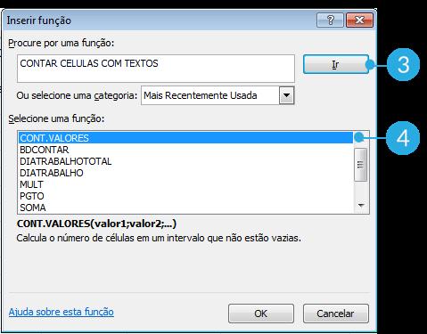 Exemplo de imagem da caixa de diálogo Inserir Função no Excel 2010.
