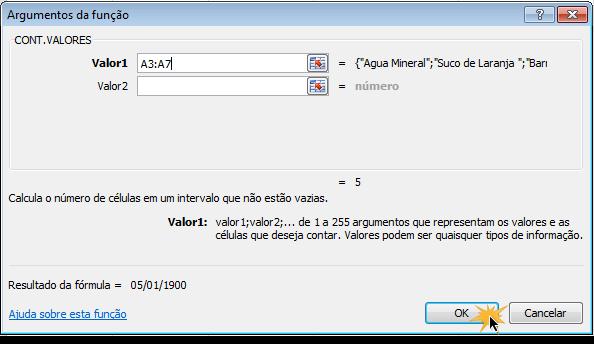 Exemplo de imagem da caixa de diálogo Argumentos da Função no Excel 2010