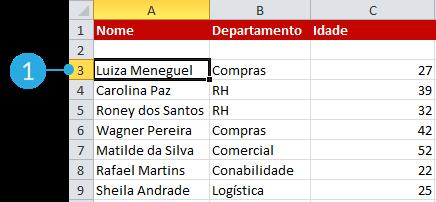 Exemplo de imagem da primeira etapa para ordenar uma lista em ordem alfabética no Excel 2010
