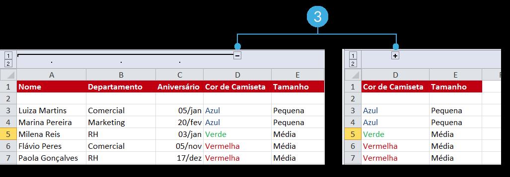 Exemplo de imagem do sinal - ou + para ver os dados agrupados em uma planilha do Excel 2010