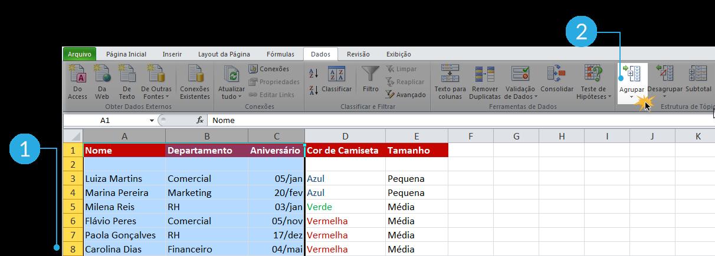 Exemplo de imagem dos passos 1 e 2 para criar grupos no Excel 2010.