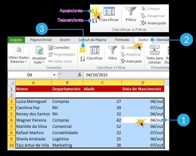 Exemplo de imagem do procedimento para classificar os dados numericamente no Excel 2010.