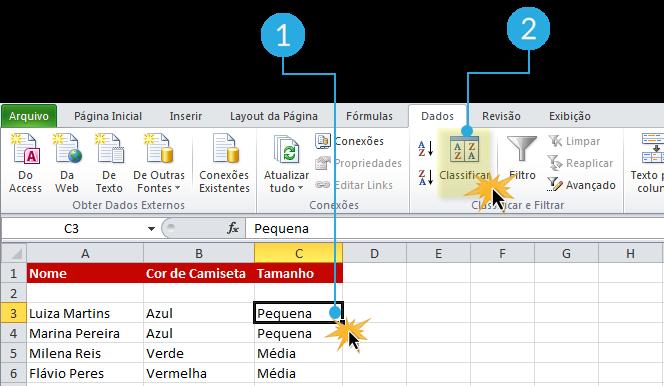 Imagem das duas primeiras etapas de como classificar dados por critérios personalizados no Excel 2010.