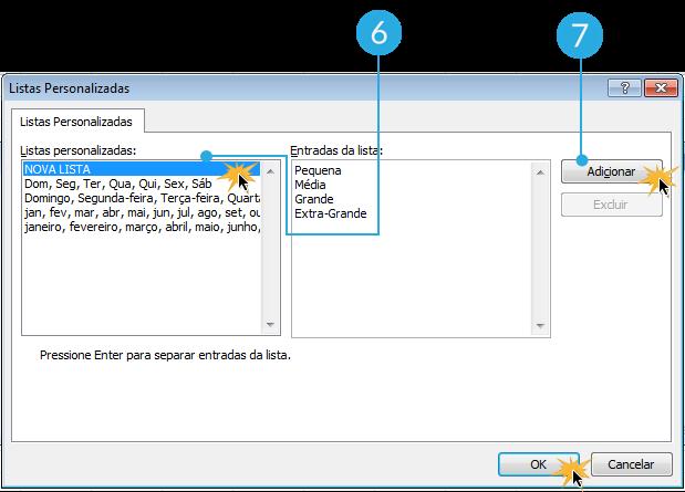 Imagem dos passos 6 e 7 de como classificar dados por critérios personalizados no Excel 2010