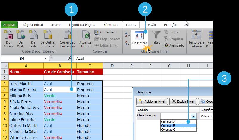 Imagem dos passos 1, 2 e 3 de como classificar dados por cor de fonte no Excel 2010
