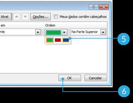 Imagem dos passos 5 e 6 de como classificar dados por cor de fonte no Excel 2010.