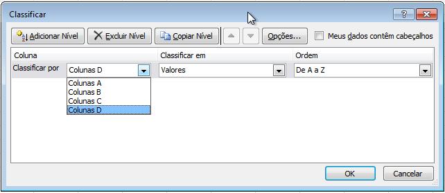 Exemplo de imagem da caixa de diálogo Classificar no Excel 2010.
