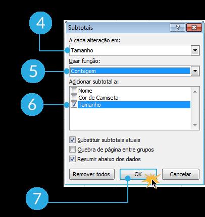 Exemplo de imagem dos passos 4, 5, 6 e 7 para agrupar dados em subtotais no Excel 2010.