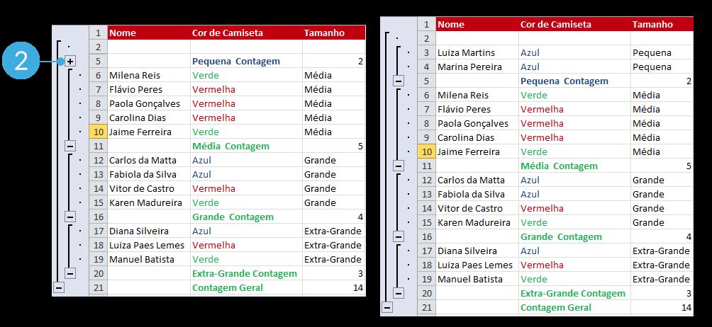 Exemplo de imagem de como mostrar novamente os dados que estavam ocultos em uma planilha no Excel 2010.