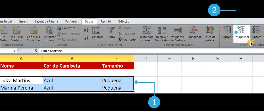 Exemplo de imagens dos passos para desagrupar subtotais no Excel 2010.