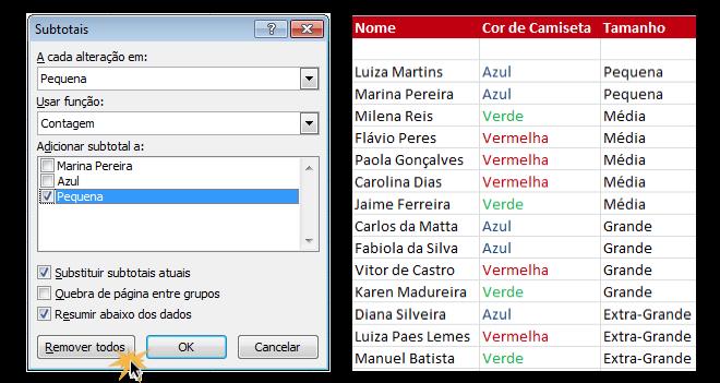 Exemplo de imagem do procedimento para remover os subtotais no Excel 2016.