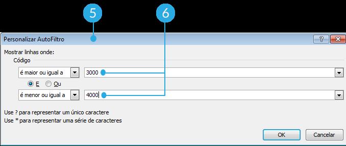 Exemplo de imagem dos passos 5, 6 e 7 para usar filtros avançados por número no Excel 2010.