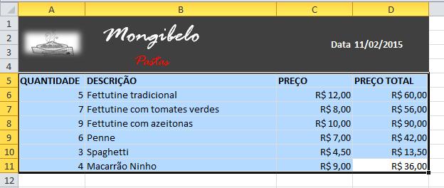 Imagem de referência dos dados com os quais a tabela será configurada.