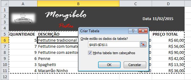 Exemplo de imagem da caixa de diálogo Criar Tabela no Excel 2010.