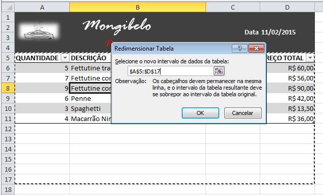 Exemplo de imagem da caixa de diálogo Ajustar o tamanho da tabela no Excel 2010.