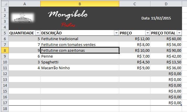 Exemplo de imagem do resultado da tabela do Excel 2010 ao modificá-lo.