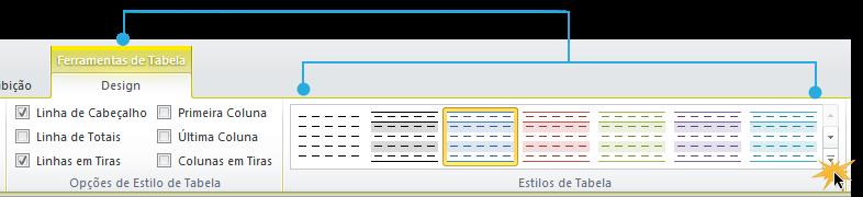 Exemplo de imagem da seta suspensa Mais na guia Design do Excel 2010