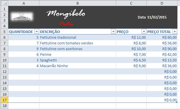 Exemplo de imagem de uma tabela do Excel 2010 com um novo design.