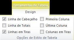 Exemplo de imagem das opções de estilo de tabela nas caixas do Excel 2010