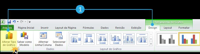 Exemplo de imagem do tipo de gráfico Alterar na guia Design do Excel 2010