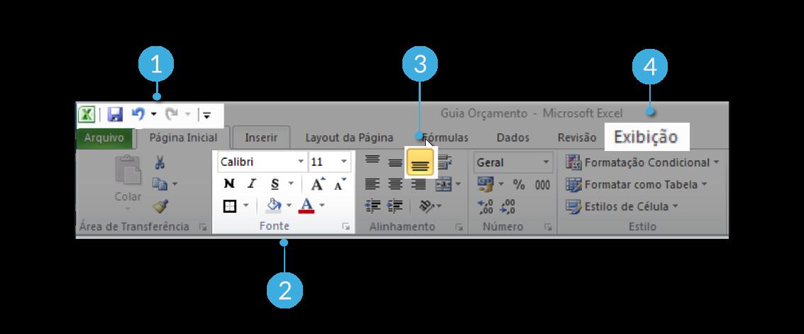 Parte superior de Excel 2010
