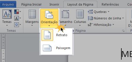 Orientação da página