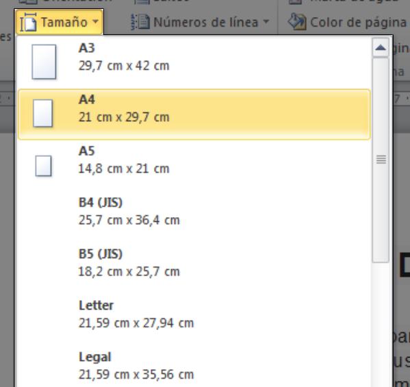 Configurar tamaño de página