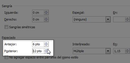 Opciones de interlineado