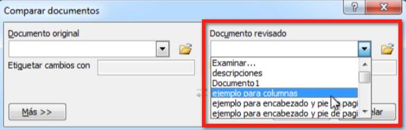 Comparar los documentos