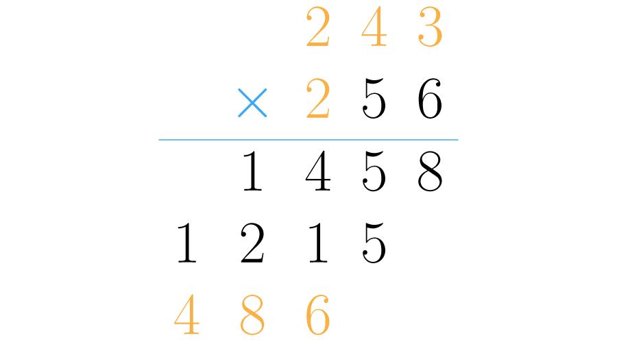 Se multiplican las centenas del segundo factor por el primero.