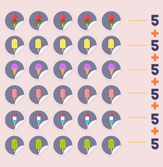 Seis pacotinhos com cinco figurinhas cada um.