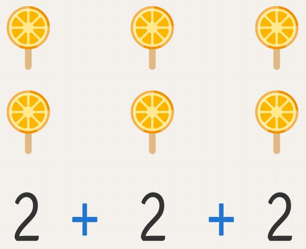 A quantidade dois é repetida três vezes.