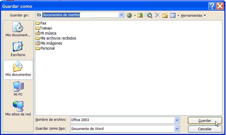 Cuadro de diálogo Guardar como de Word 2003
