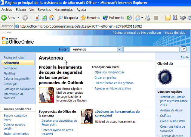 Opciones Microsofto Office Online