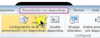 Configuración de la presentación con diapositivas