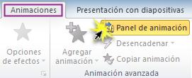 Botón Panel de animación