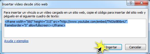 Insertar video desde sitio web