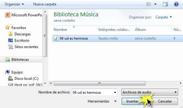 Seleccionar el archivo de audio