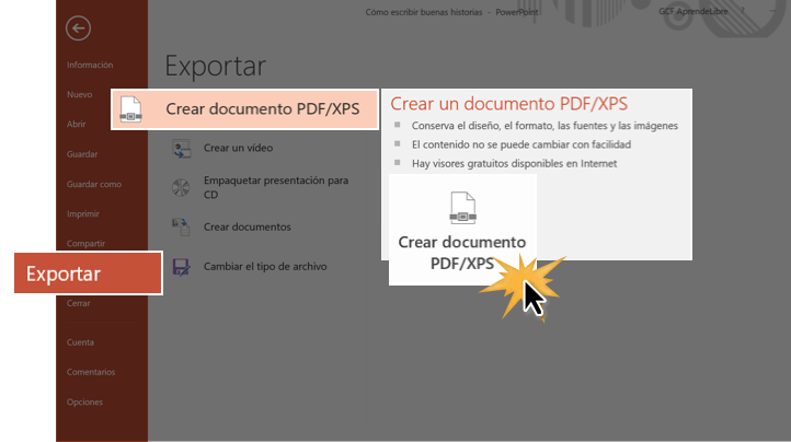 Exportar presentaciones en otros formatos