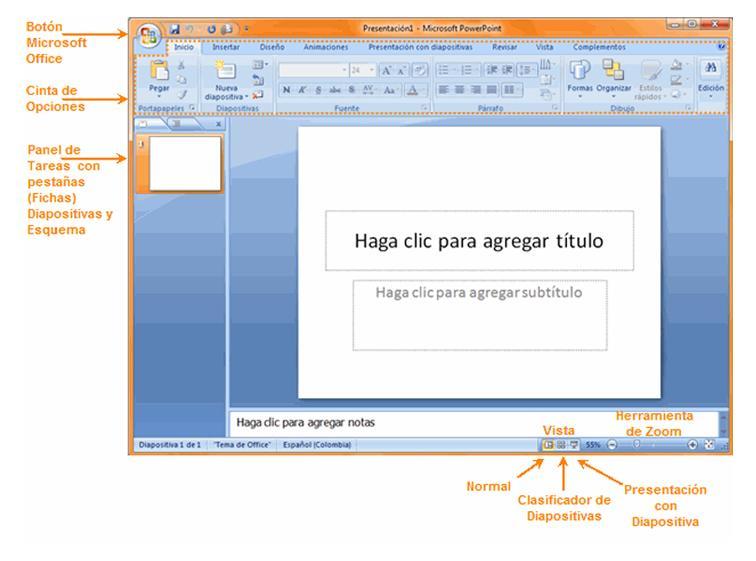 Ventana (interfaz) de PowerPoint.