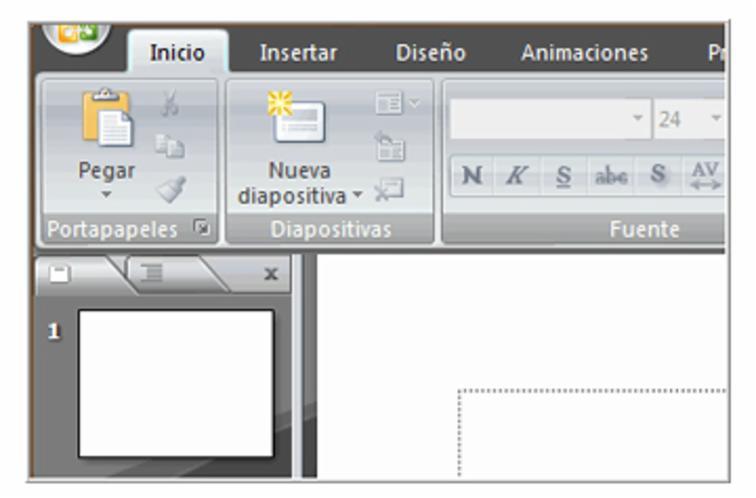 Cambio del color de la ventana en PowerPoint. De azul a gris.