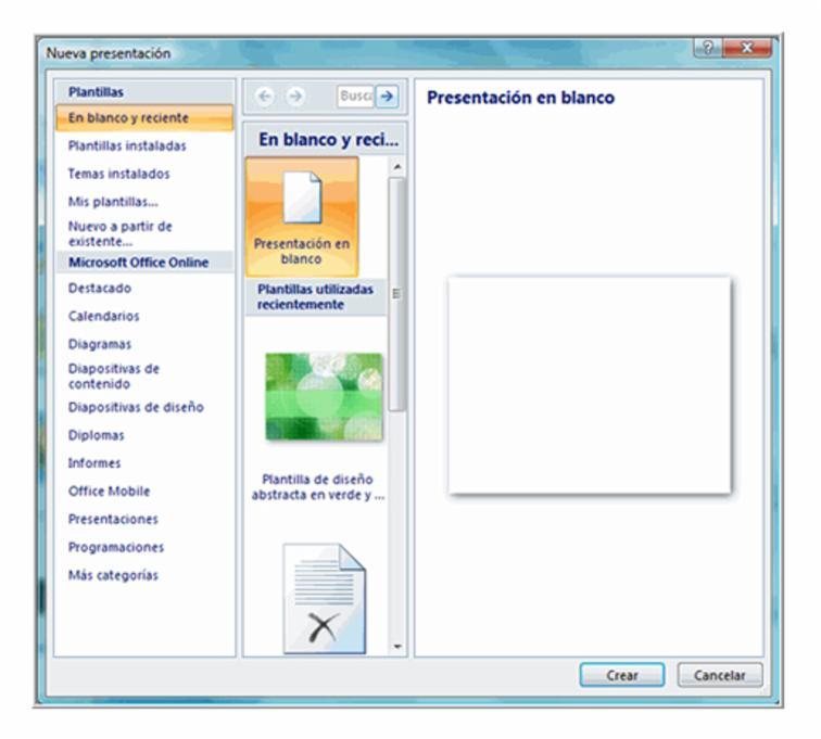 Segundo paso: seleccione Presentación en blanco.