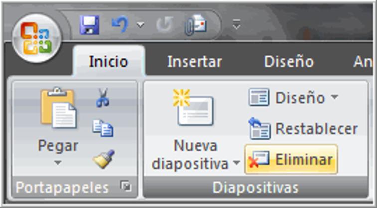 Botoón eliminar diapositivas.