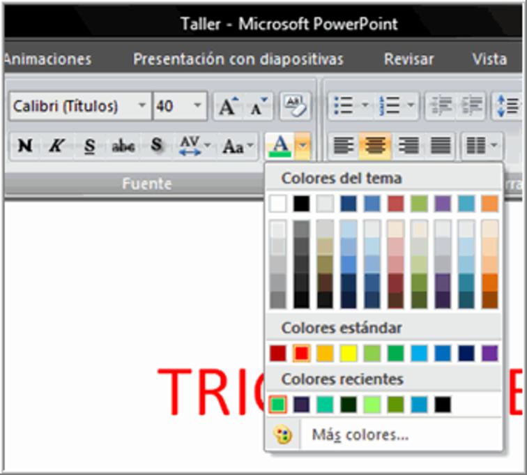 Herramienta selección de color del texto.
