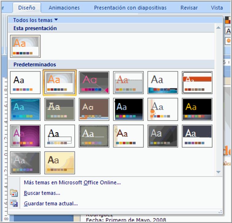 powerpoint 2007 aplicar un tema a la presentación
